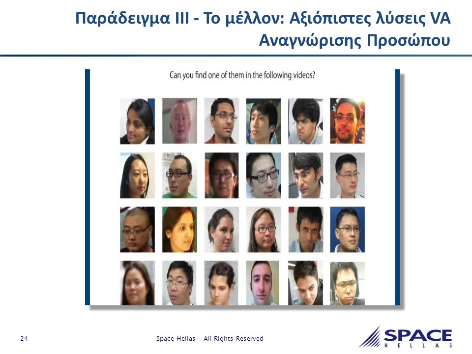 24 Space Hellas - All Rights Reserved o Παράδειγμα ΙΙΙ - Το μέλλον: Αξιόπιστες λύσεις VA Αναγνώρισης Προσώπου