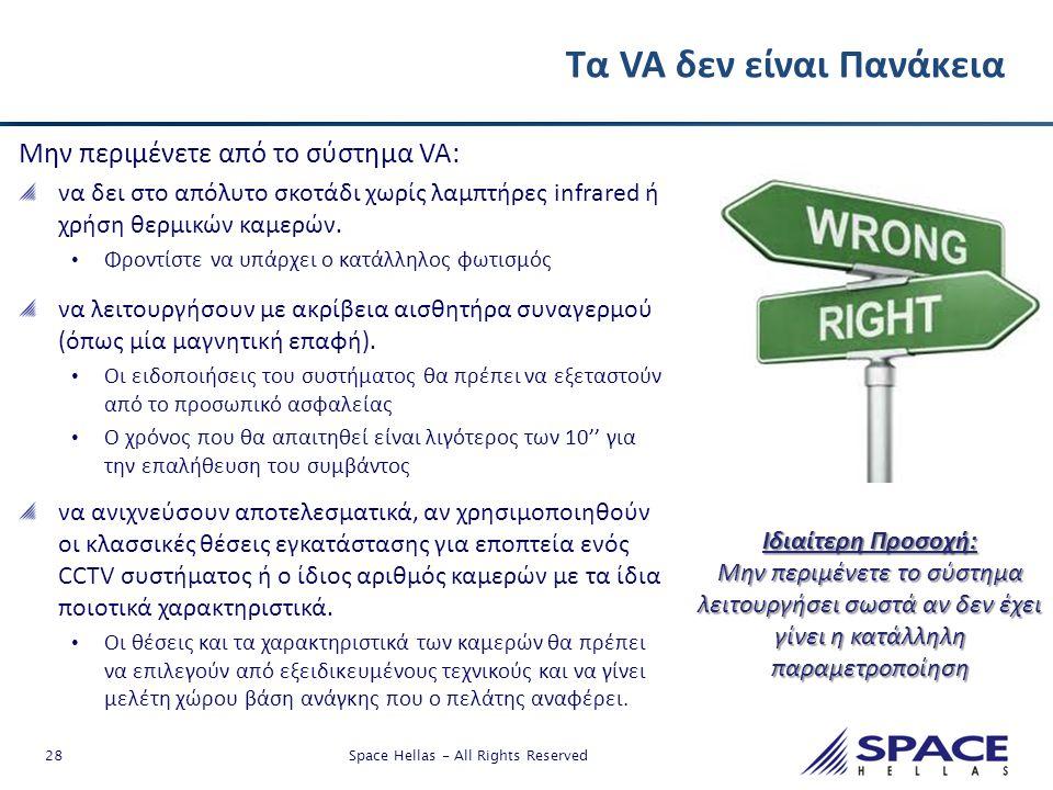 28 Space Hellas - All Rights Reserved Τα VA δεν είναι Πανάκεια Μην περιμένετε από το σύστημα VA: να δει στο απόλυτο σκοτάδι χωρίς λαμπτήρες infrared ή
