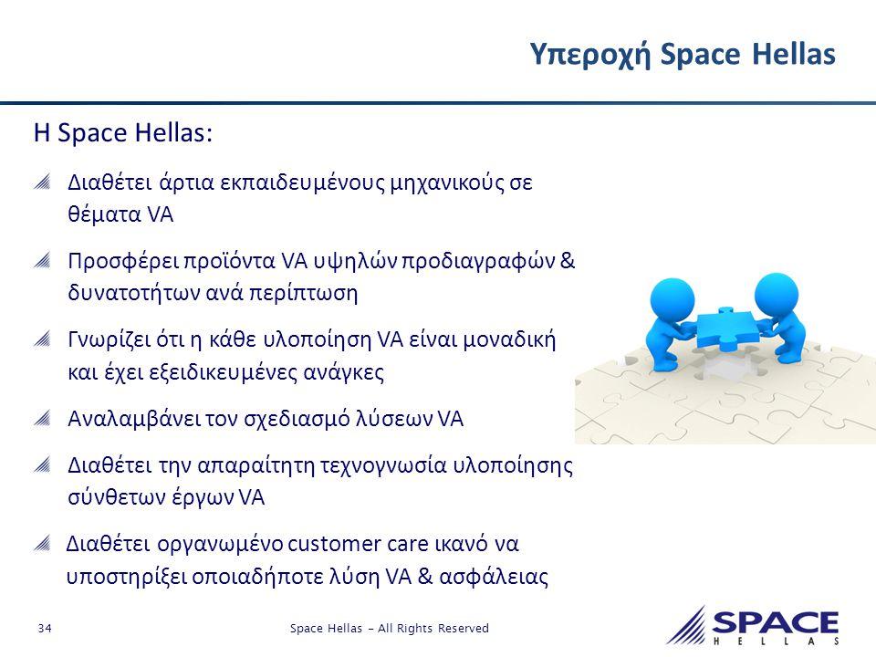 34 Space Hellas - All Rights Reserved Υπεροχή Space Hellas Η Space Hellas: Διαθέτει άρτια εκπαιδευμένους μηχανικούς σε θέματα VA Προσφέρει προϊόντα VA