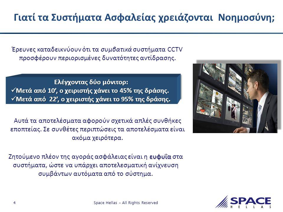 4 Space Hellas - All Rights Reserved Έρευνες καταδεικνύουν ότι τα συμβατικά συστήματα CCTV προσφέρουν περιορισμένες δυνατότητες αντίδρασης. Αυτά τα απ