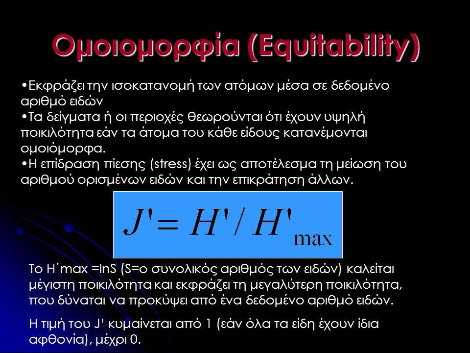 Ομοιομορφία (Equitability) •Εκφράζει την ισοκατανομή των ατόμων μέσα σε δεδομένο αριθμό ειδών •Τα δείγματα ή οι περιοχές θεωρούνται ότι έχουν υψηλή πο
