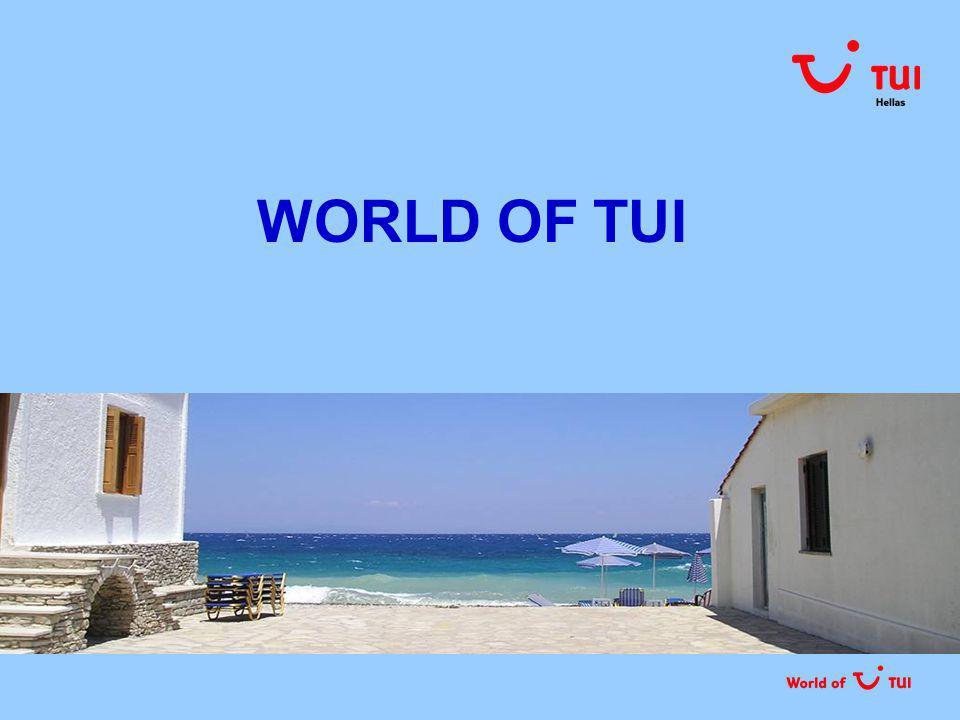 ΜΕ ΜΙΑ ΜΑΤΙΑ Ο ΟΜΙΛΟΣ ΤΗΣ TUI Τμήματα  TUI Travel tour operating πωλήσεις online & μέσω γραφείων αεροπορικό τμήμα incoming agencies  TUI Hotels & Resorts Γνωστές ξενοδοχειακές αλυσίδες Riu, Grecotel, Grupotel, Iberotel, Dorfhotel, Robinson, Magic Life  Cruise ship Hapag-Lloyd Cruises με στόλο 4 υπερπολυτελών κρουαζιερόπλοιων ΣΧΕΤΙΚΑ ΜΕ ΤΗΝ TUI