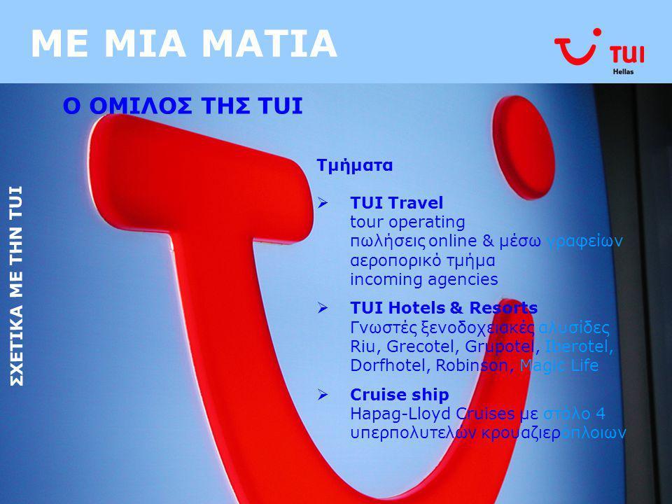 ΜΕ ΜΙΑ ΜΑΤΙΑ Ο ΟΜΙΛΟΣ ΤΗΣ TUI ΣΧΕΤΙΚΑ ΜΕ ΤΗΝ TUI Περιλαμβάνει  3.500 ταξιδιωτικά γραφεία  Πάνω από 140 αεροπλάνα  Περίπου 243 ξενοδοχεία (πάνω από 154.000 κρεβάτια) σε 28 χώρες  27 Ευρωπαϊκές χώρες προέλευσης τουριστών  200 brands  30 εκατομμύρια επιβάτες  65.000 εργαζομένους