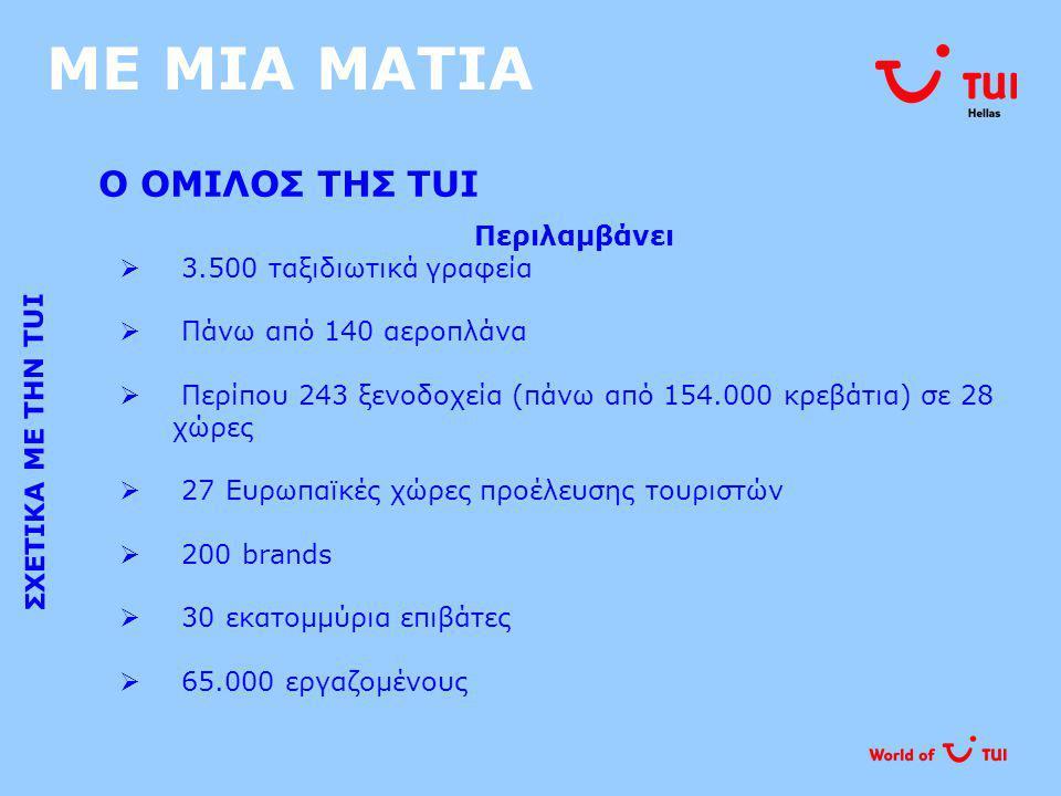 ΜΕ ΜΙΑ ΜΑΤΙΑ ΠΟΙΟΙ ΕΙΜΑΣΤΕ ΣΧΕΤΙΚΑ ΜΕ ΤΗΝ TUI HELLAS Ο νούμερο 1 Τουριστικός Οργανισμός Incoming Τουρισμού στην Ελλάδα:  πάνω από 1,3 εκατομμύρια τουρίστες  δίκτυο 22 γραφείων στην Ελλάδα  κύκλος εργασιών 55 εκατομμυρίων Euro  αντιπροσωπεύει 20 Tour operators από 16 χώρες