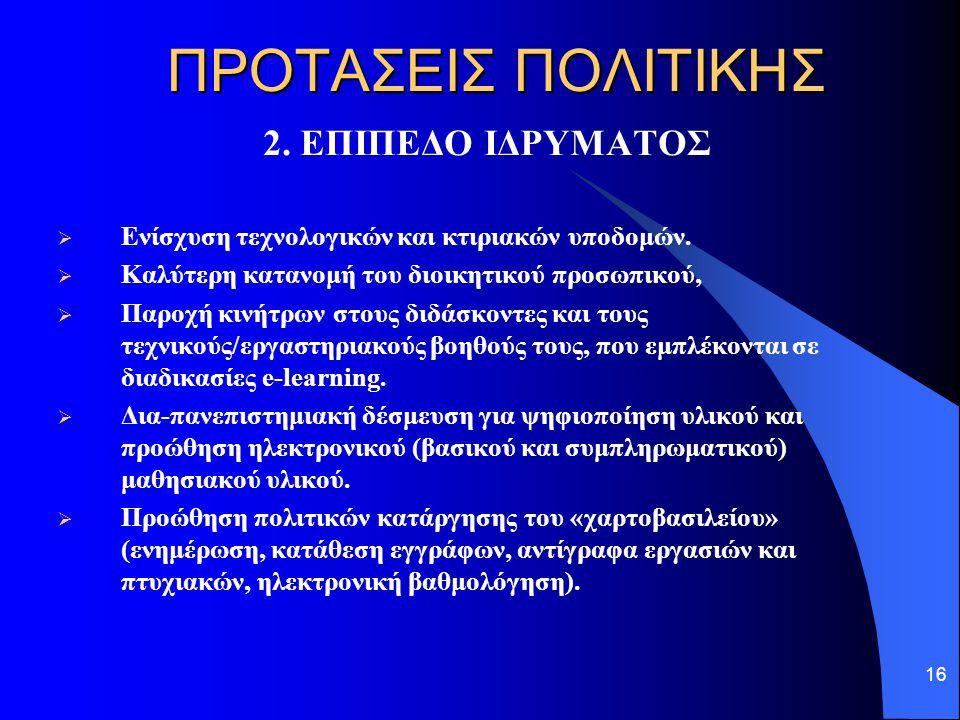 16 ΠΡΟΤΑΣΕΙΣ ΠΟΛΙΤΙΚΗΣ 2. ΕΠΙΠΕΔΟ ΙΔΡΥΜΑΤΟΣ  Ενίσχυση τεχνολογικών και κτιριακών υποδομών.