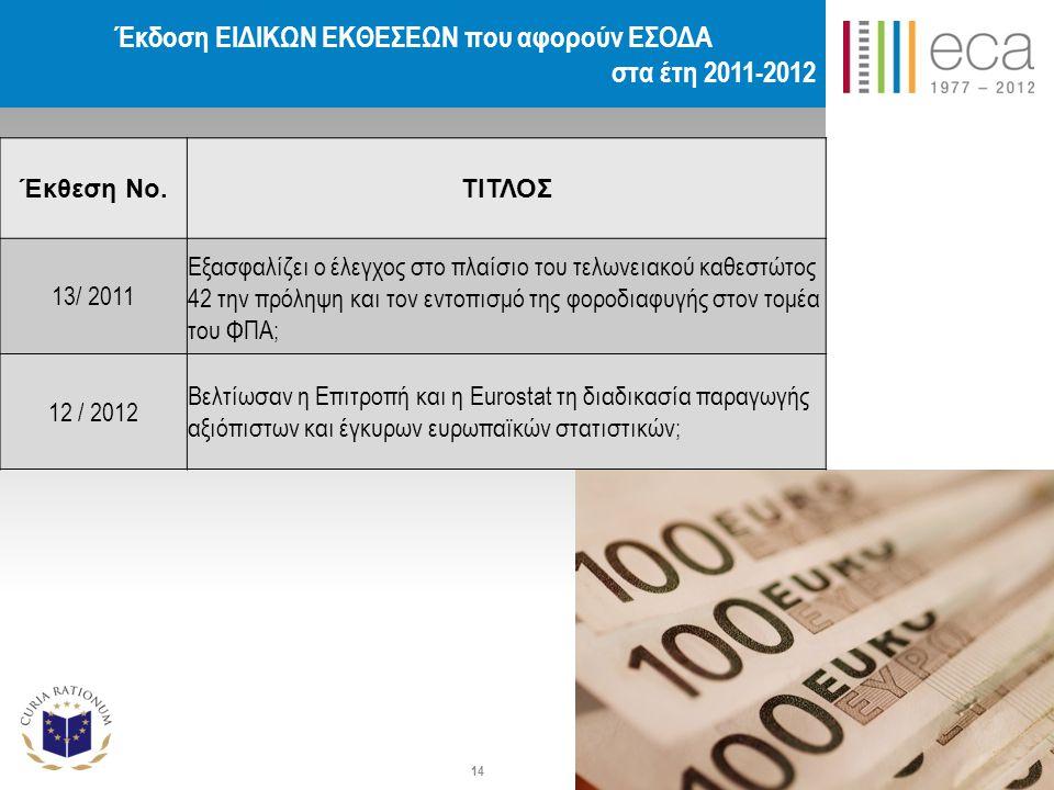 Έκδοση ΕΙΔΙΚΩΝ ΕΚΘΕΣΕΩΝ που αφορούν ΕΣΟΔΑ στα έτη 2011-2012 Έκθεση Νο.ΤΙΤΛΟΣ 13/ 2011 Εξασφαλίζει ο έλεγχος στο πλαίσιο του τελωνειακού καθεστώτος 42 την πρόληψη και τον εντοπισμό της φοροδιαφυγής στον τομέα του ΦΠΑ; 12 / 2012 Βελτίωσαν η Επιτροπή και η Eurostat τη διαδικασία παραγωγής αξιόπιστων και έγκυρων ευρωπαϊκών στατιστικών; 14