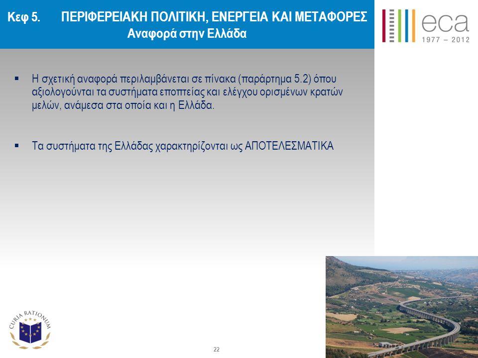 Κεφ 5. ΠΕΡΙΦΕΡΕΙΑΚΗ ΠΟΛΙΤΙΚΗ, ΕΝΕΡΓΕΙΑ ΚΑΙ ΜΕΤΑΦΟΡΕΣ Αναφορά στην Ελλάδα  Η σχετική αναφορά περιλαμβάνεται σε πίνακα (παράρτημα 5.2) όπου αξιολογούντ