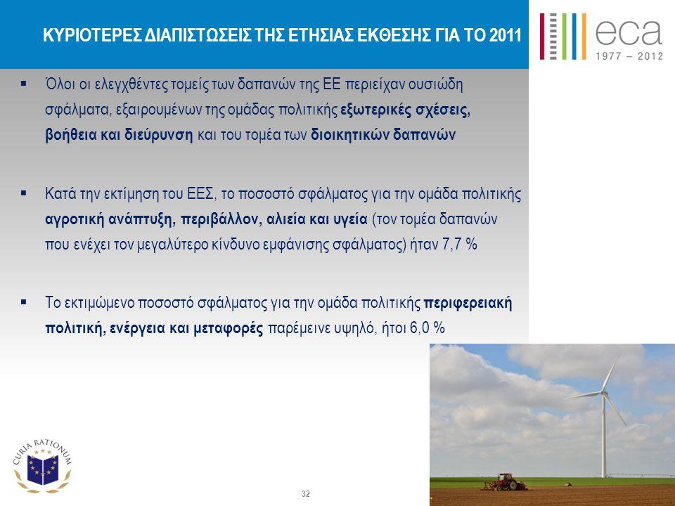 ΚΥΡΙΟΤΕΡΕΣ ΔΙΑΠΙΣΤΩΣΕΙΣ ΤΗΣ ΕΤΗΣΙΑΣ ΕΚΘΕΣΗΣ ΓΙΑ ΤΟ 2011  Όλοι οι ελεγχθέντες τομείς των δαπανών της ΕΕ περιείχαν ουσιώδη σφάλματα, εξαιρουμένων της ομάδας πολιτικής εξωτερικές σχέσεις, βοήθεια και διεύρυνση και του τομέα των διοικητικών δαπανών  Κατά την εκτίμηση του ΕΕΣ, το ποσοστό σφάλματος για την ομάδα πολιτικής αγροτική ανάπτυξη, περιβάλλον, αλιεία και υγεία (τον τομέα δαπανών που ενέχει τον μεγαλύτερο κίνδυνο εμφάνισης σφάλματος) ήταν 7,7 %  Το εκτιμώμενο ποσοστό σφάλματος για την ομάδα πολιτικής περιφερειακή πολιτική, ενέργεια και μεταφορές παρέμεινε υψηλό, ήτοι 6,0 % 32
