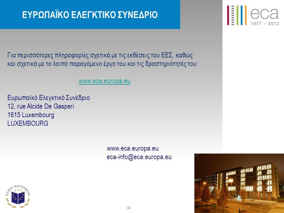 Για περισσότερες πληροφορίες σχετικά με τις εκθέσεις του ΕΕΣ, καθώς και σχετικά με το λοιπό παραγόμενο έργο του και τις δραστηριότητές του: www.eca.europa.eu Eυρωπαϊκό Ελεγκτικό Συνέδριο 12, rue Alcide De Gasperi 1615 Luxembourg LUXEMBOURG www.eca.europa.eu eca-info@eca.europa.eu EΥΡΩΠΑΪΚΟ ΕΛΕΓΚΤΙΚΟ ΣΥΝΕΔΡΙΟ 36