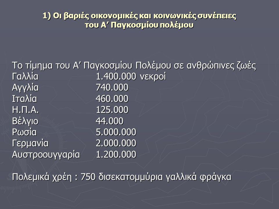 1) Οι βαριές οικονομικές και κοινωνικές συνέπειες του Α' Παγκοσμίου πολέμου Το τίμημα του Α' Παγκοσμίου Πολέμου σε ανθρώπινες ζωές Γαλλία 1.400.000 νε