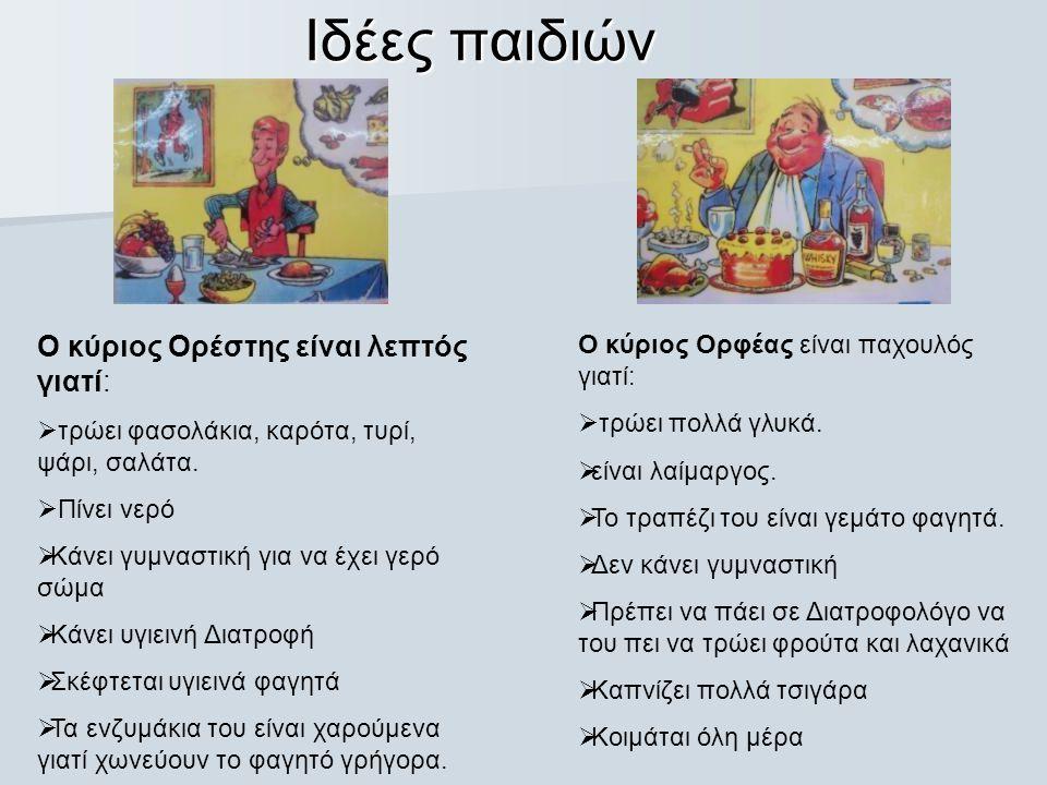 Ιδέες παιδιών Ο κύριος Ορέστης είναι λεπτός γιατί:  τρώει φασολάκια, καρότα, τυρί, ψάρι, σαλάτα.