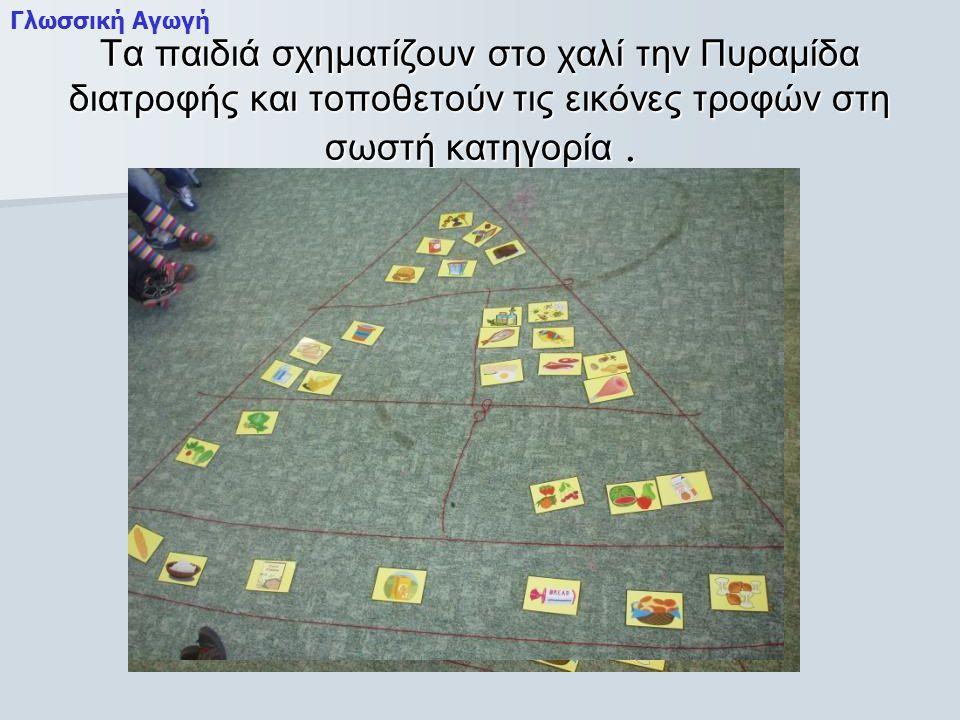 Τα παιδιά σχηματίζουν στο χαλί την Πυραμίδα διατροφής και τοποθετούν τις εικόνες τροφών στη σωστή κατηγορία.