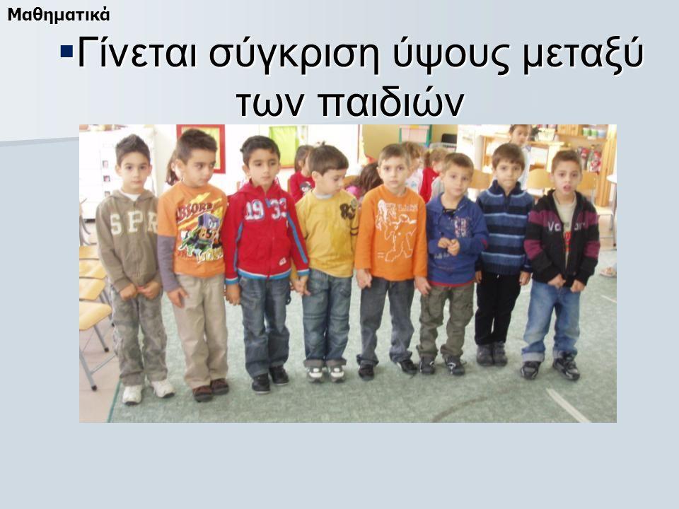  Γίνεται σύγκριση ύψους μεταξύ των παιδιών Μαθηματικά