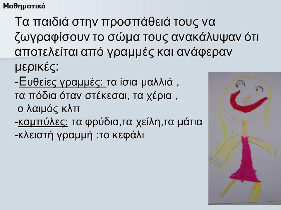 Τα παιδιά στην προσπάθειά τους να ζωγραφίσουν το σώμα τους ανακάλυψαν ότι αποτελείται από γραμμές και ανάφεραν μερικές: -Ε υθείες γραμμές: τα ίσια μαλλιά, τα πόδια όταν στέκεσαι, τα χέρια, ο λαιμός κλπ -καμπύλες: τα φρύδια,τα χείλη,τα μάτια -κλειστή γραμμή :το κεφάλι Μαθηματικά