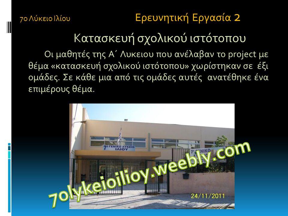Κατασκευή σχολικού ιστότοπου Οι μαθητές της Α΄ Λυκειου που ανέλαβαν το project με θέμα «κατασκευή σχολικού ιστότοπου» χωρίστηκαν σε έξι ομάδες. Σε κάθ