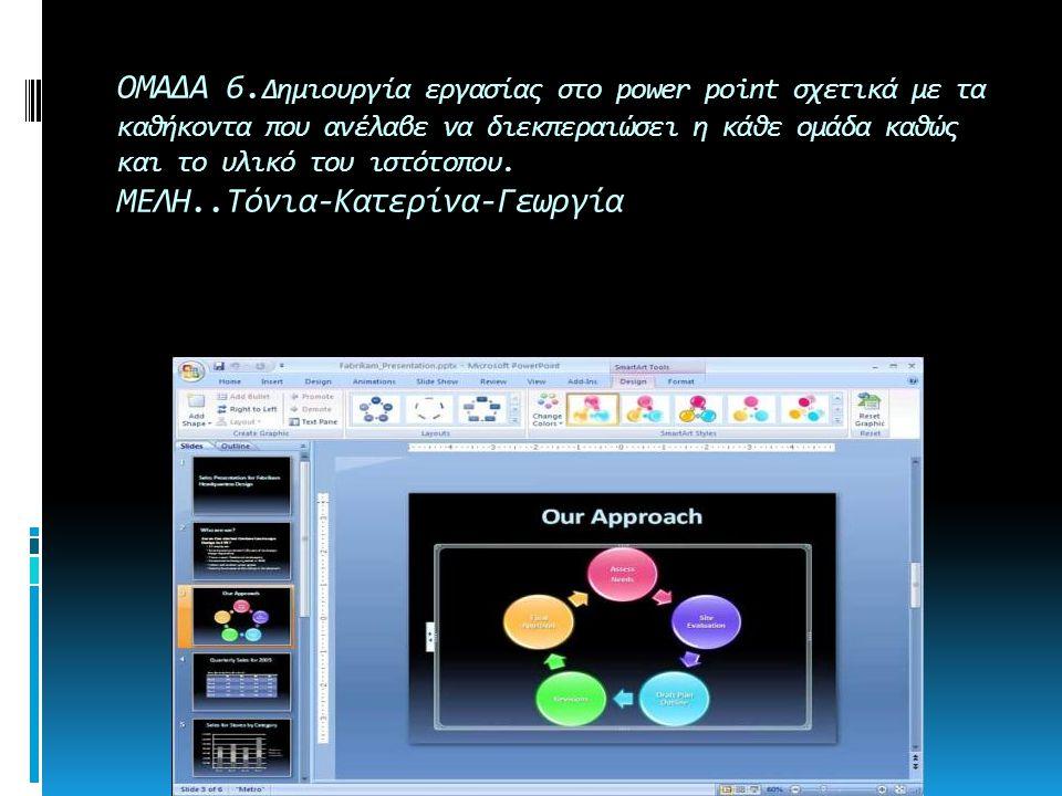 ΟΜΑΔΑ 6. Δημιουργία εργασίας στο power point σχετικά με τα καθήκοντα που ανέλαβε να διεκπεραιώσει η κάθε ομάδα καθώς και το υλικό του ιστότοπου. ΜΕΛΗ.