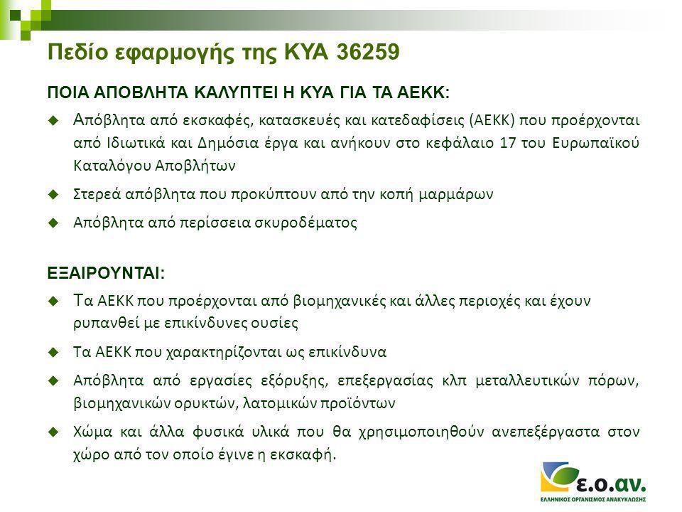 Πεδίο εφαρμογής της ΚΥΑ 36259 ΠΟΙΑ ΑΠΟΒΛΗΤΑ ΚΑΛΥΠΤΕΙ Η ΚΥΑ ΓΙΑ ΤΑ ΑΕΚΚ:  Α πόβλητα από εκσκαφές, κατασκευές και κατεδαφίσεις (ΑΕΚΚ) που προέρχονται από Ιδιωτικά και Δημόσια έργα και ανήκουν στο κεφάλαιο 17 του Ευρωπαϊκού Καταλόγου Αποβλήτων  Στερεά απόβλητα που προκύπτουν από την κοπή μαρμάρων  Απόβλητα από περίσσεια σκυροδέματος ΕΞΑΙΡΟΥΝΤΑΙ:  Τ α ΑΕΚΚ που προέρχονται από βιομηχανικές και άλλες περιοχές και έχουν ρυπανθεί με επικίνδυνες ουσίες  Τα ΑΕΚΚ που χαρακτηρίζονται ως επικίνδυνα  Απόβλητα από εργασίες εξόρυξης, επεξεργασίας κλπ μεταλλευτικών πόρων, βιομηχανικών ορυκτών, λατομικών προϊόντων  Χώμα και άλλα φυσικά υλικά που θα χρησιμοποιηθούν ανεπεξέργαστα στον χώρο από τον οποίο έγινε η εκσκαφή.