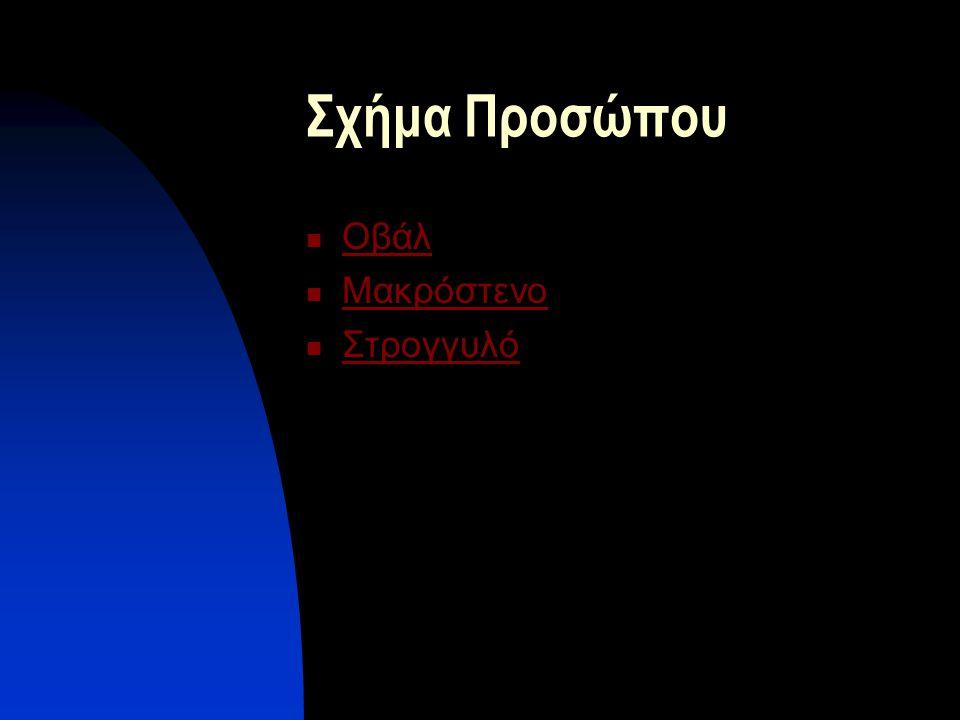 Σχήμα Προσώπου  Οβάλ Οβάλ  Μακρόστενο Μακρόστενο  Στρογγυλό Στρογγυλό