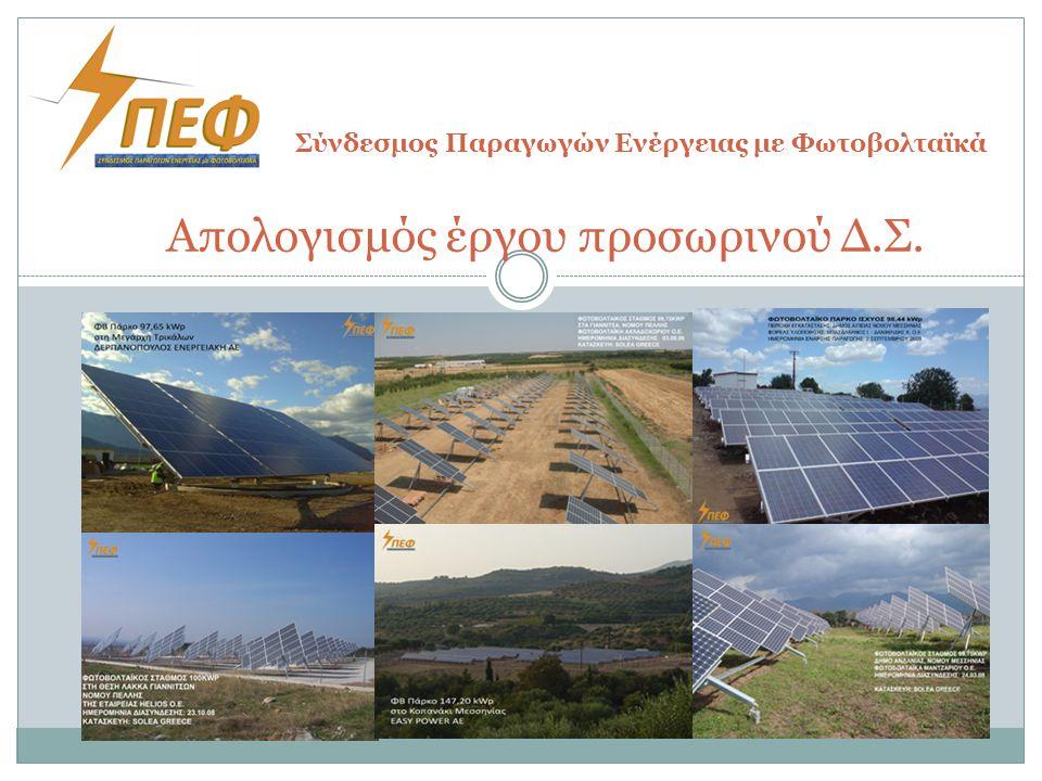 Απολογισμός έργου προσωρινού Δ.Σ. Σύνδεσμος Παραγωγών Ενέργειας με Φωτοβολταϊκά