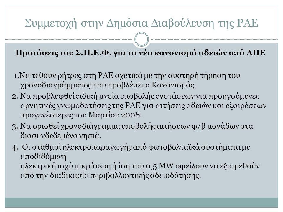 Συμμετοχή στην Δημόσια Διαβούλευση της ΡΑΕ Προτάσεις του Σ.Π.Ε.Φ.