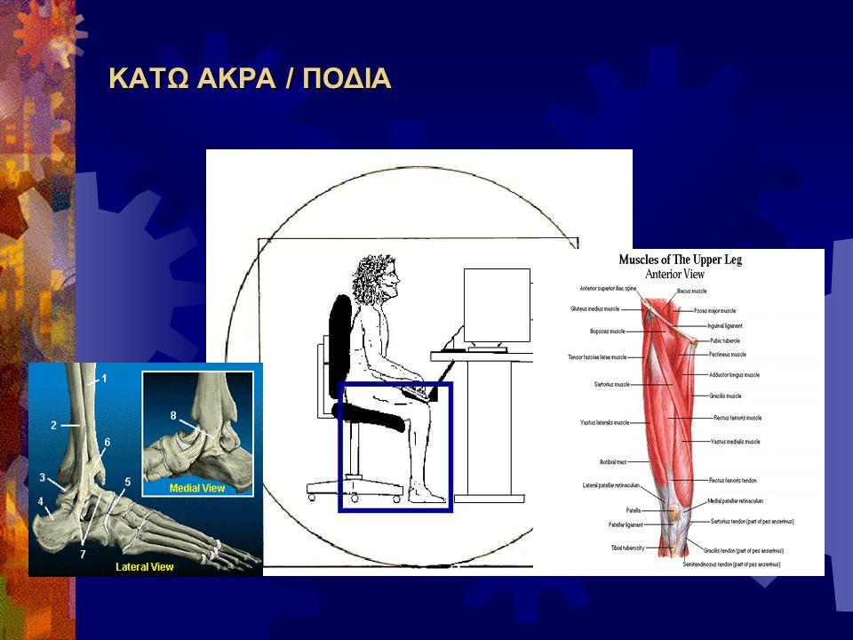  Τα ισχία ψηλότερα από τα γόνατα  Γόνατα και ποδοκνημικές σε κατάλληλη κάμψη  Το κάθισμα να τελειώνει περίπου 6 – 8 cm πρίν τα γόνατα  Το πεδίο ελεύθερο μπροστά από τα πόδια / κάτω από το πληκτρολόγιο / μπροστά από το γραφείο και κάτω από αυτό.