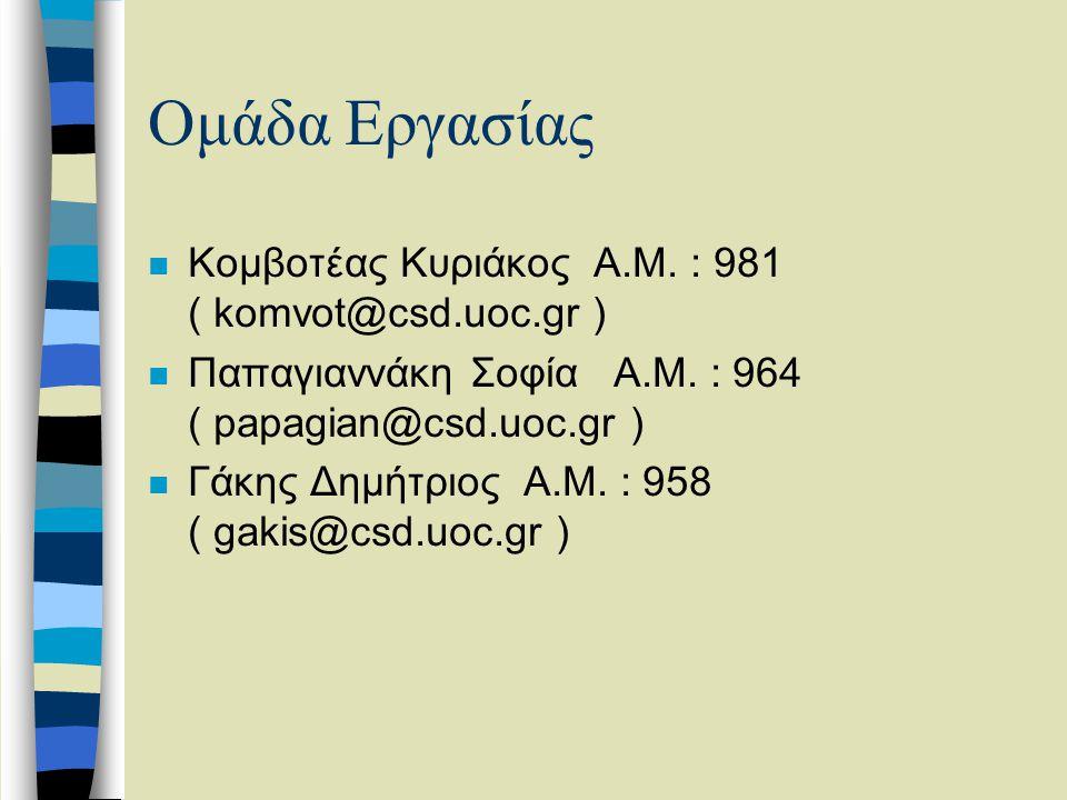 Ομάδα Εργασίας n Κομβοτέας Κυριάκος Α.Μ.: 981 ( komvot@csd.uoc.gr ) n Παπαγιαννάκη Σοφία Α.Μ.