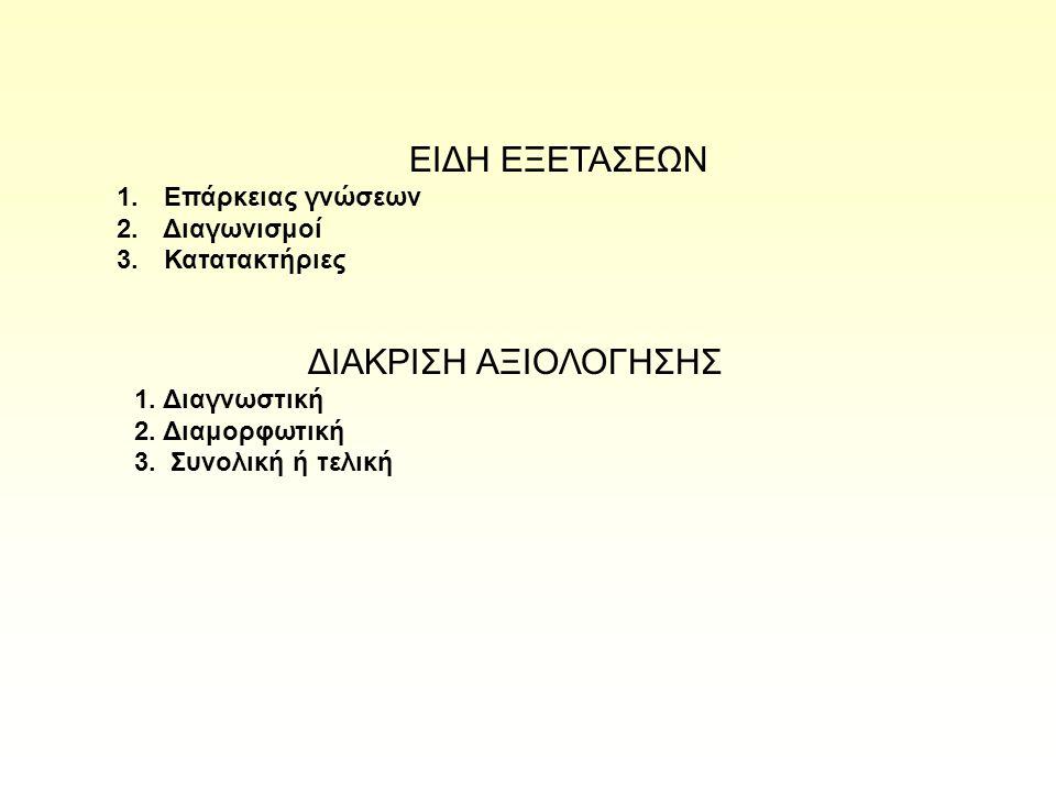 ΕΙΔΗ ΕΞΕΤΑΣΕΩΝ 1. Επάρκειας γνώσεων 2. Διαγωνισμοί 3. Κατατακτήριες ΔΙΑΚΡΙΣΗ ΑΞΙΟΛΟΓΗΣΗΣ 1. Διαγνωστική 2. Διαμορφωτική 3. Συνολική ή τελική