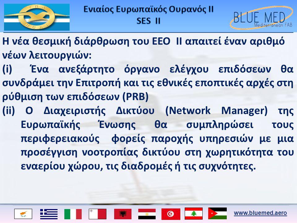 www.bluemed.aero Η νέα θεσμική διάρθρωση του ΕΕΟ II απαιτεί έναν αριθμό νέων λειτουργιών: (i) Ένα ανεξάρτητο όργανο ελέγχου επιδόσεων θα συνδράμει την