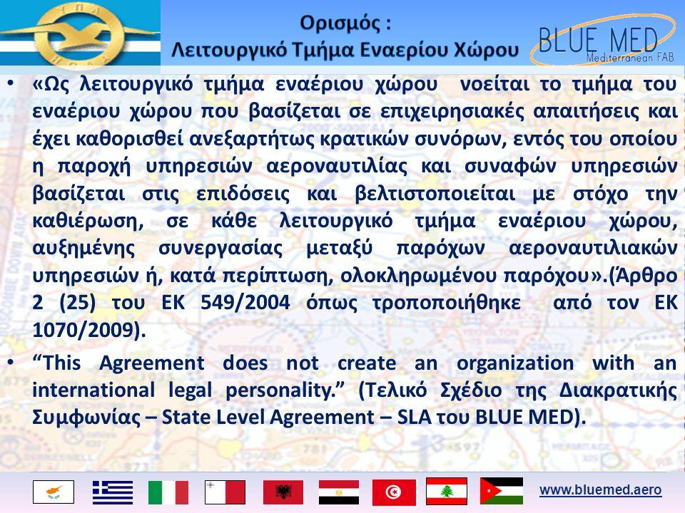 www.bluemed.aero • «Ως λειτουργικό τμήμα εναέριου χώρου νοείται το τμήμα του εναέριου χώρου που βασίζεται σε επιχειρησιακές απαιτήσεις και έχει καθορι