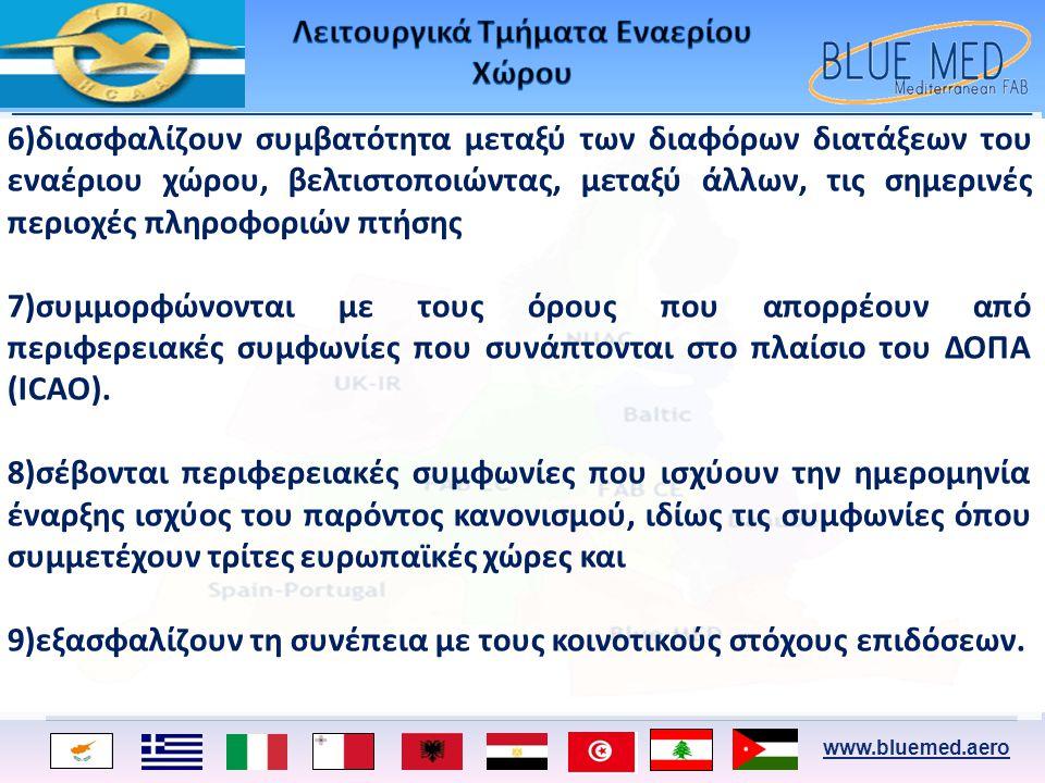 www.bluemed.aero 6)διασφαλίζουν συμβατότητα μεταξύ των διαφόρων διατάξεων του εναέριου χώρου, βελτιστοποιώντας, μεταξύ άλλων, τις σημερινές περιοχές π