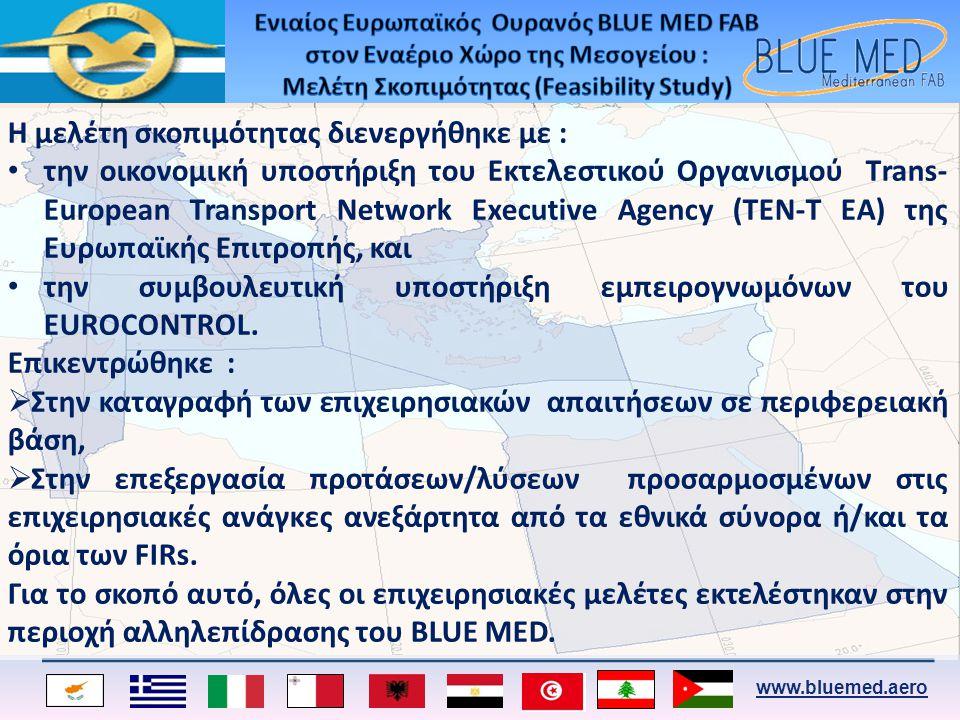www.bluemed.aero Η μελέτη σκοπιμότητας διενεργήθηκε με : • την οικονομική υποστήριξη του Εκτελεστικού Οργανισμού Τrans- European Transport Network Exe