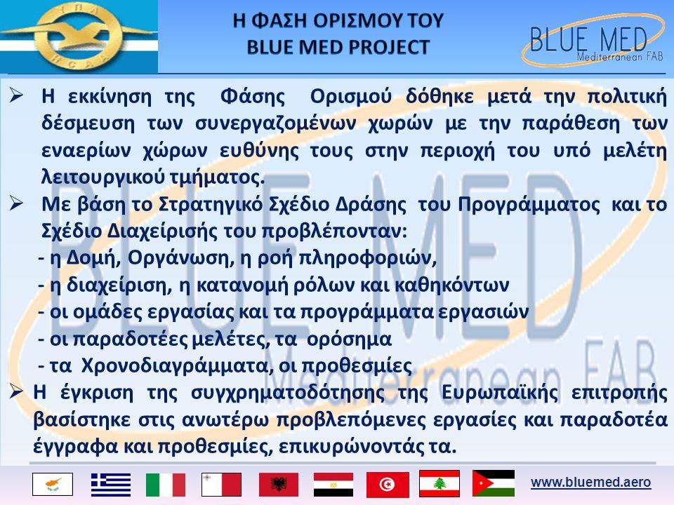 www.bluemed.aero  Η εκκίνηση της Φάσης Ορισμού δόθηκε μετά την πολιτική δέσμευση των συνεργαζομένων χωρών με την παράθεση των εναερίων χώρων ευθύνης