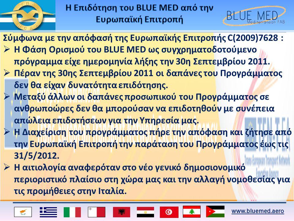 www.bluemed.aero Σύμφωνα με την απόφασή της Ευρωπαϊκής Επιτροπής C(2009)7628 :  Η Φάση Ορισμού του BLUE MED ως συγχρηματοδοτούμενο πρόγραμμα είχε ημε