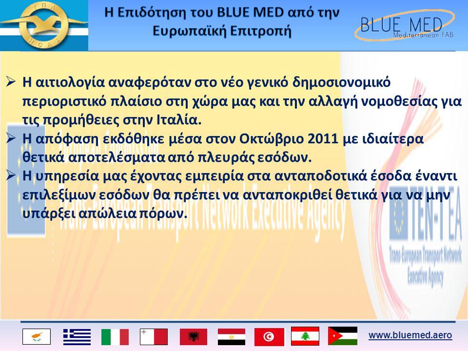 www.bluemed.aero  Η αιτιολογία αναφερόταν στο νέο γενικό δημοσιονομικό περιοριστικό πλαίσιο στη χώρα μας και την αλλαγή νομοθεσίας για τις προμήθειες