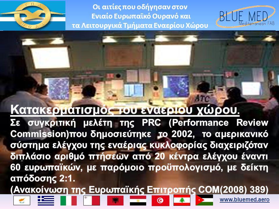 www.bluemed.aero Ο σχεδιασμός του Ενιαίου Ευρωπαϊκού Ουρανού βασίστηκε στη δημιουργία των Λειτουργικών Τμημάτων Εναερίου Χώρου (Functional Airspace Blocks – FABs) ανεξαρτήτως ορίων περιοχών ευθύνης με βάση την διαδικασία συνεργασίας των παρόχων αεροναυτιλίας επί επιχειρησιακών θεμάτων με γνώμονα την βέλτιστη απόδοση του ATM/ANS, την ασφάλεια και την προστασία του περιβάλλοντος.