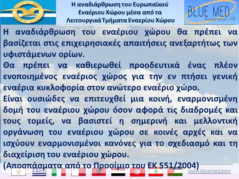 www.bluemed.aero Η αναδιάρθρωση του εναέριου χώρου θα πρέπει να βασίζεται στις επιχειρησιακές απαιτήσεις ανεξαρτήτως των υφιστάμενων ορίων. Θα πρέπει