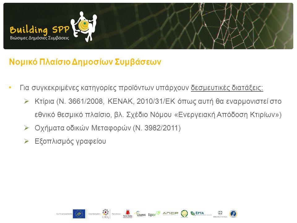 Νομικό Πλαίσιο Δημοσίων Συμβάσεων • Για συγκεκριμένες κατηγορίες προϊόντων υπάρχουν δεσμευτικές διατάξεις:  Κτίρια (Ν. 3661/2008, ΚΕΝΑΚ, 2010/31/EK ό
