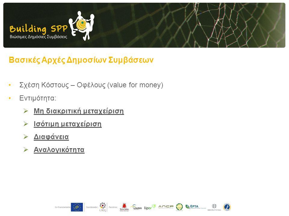 Βασικές Αρχές Δημοσίων Συμβάσεων •Σχέση Κόστους – Οφέλους (value for money) •Εντιμότητα:  Μη διακριτική μεταχείριση  Ισότιμη μεταχείριση  Διαφάνεια  Αναλογικότητα
