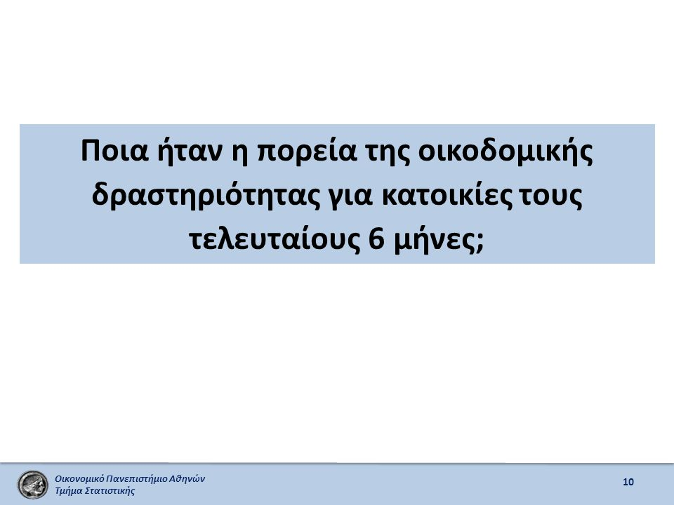 Οικονομικό Πανεπιστήμιο Αθηνών Τμήμα Στατιστικής Ποια ήταν η πορεία της οικοδομικής δραστηριότητας για κατοικίες τους τελευταίους 6 μήνες; 10