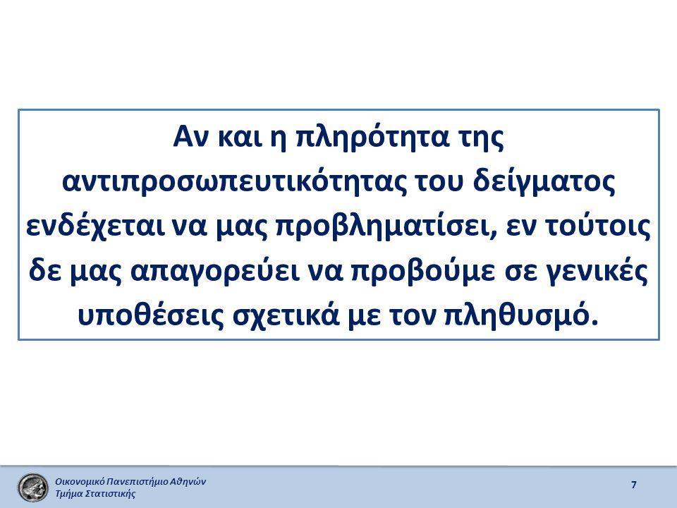 Οικονομικό Πανεπιστήμιο Αθηνών Τμήμα Στατιστικής 8 Γενικά, θεωρούμε ότι οι κοινωνικές δειγματοληπτικές έρευνες οι οποίες ενδέχεται να μην αντιπροσωπεύουν τον πληθυσμό δε σημαίνει αναγκαστικά ότι δημιουργούν μεροληπτικές σχέσεις μεταξύ των μεταβλητών – βλ.