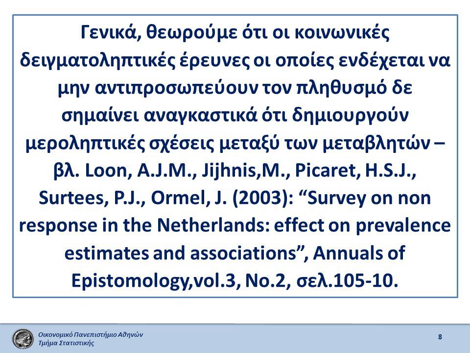 Οικονομικό Πανεπιστήμιο Αθηνών Τμήμα Στατιστικής 9 Τα αποτελέσματα αυτά μπορούν να θεωρηθούν, ως εν δυνάμει ΘΕΣΕΙΣ και ΑΠΟΨΕΙΣ των θεμάτων που εξετάστηκαν.