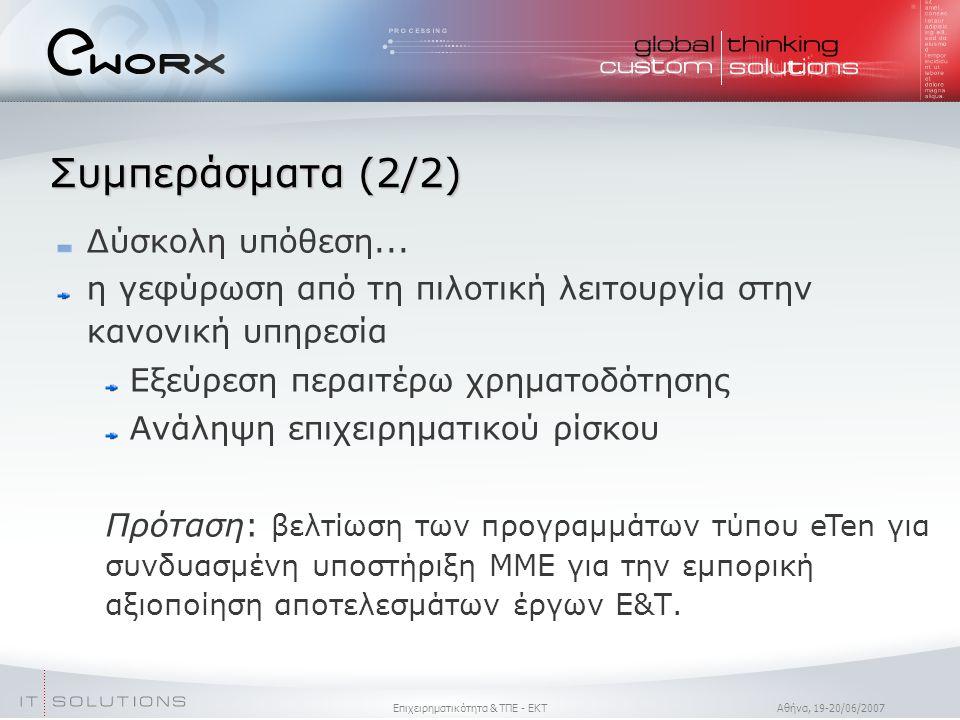 Επιχειρηματικότητα & ΤΠΕ - ΕΚΤ Aθήνα, 19-20/06/2007 Συμπεράσματα (2/2)  Δύσκολη υπόθεση...