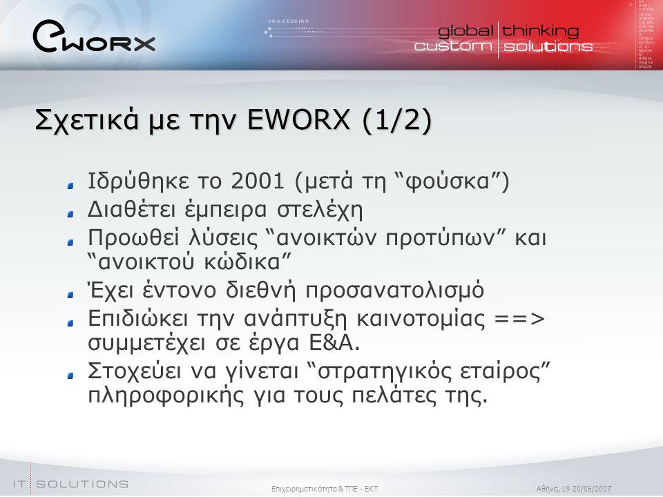 Επιχειρηματικότητα & ΤΠΕ - ΕΚΤ Aθήνα, 19-20/06/2007 Σχετικά με την EWORX (1/2)  Ιδρύθηκε το 2001 (μετά τη φούσκα )  Διαθέτει έμπειρα στελέχη Προωθεί λύσεις ανοικτών προτύπων και ανοικτού κώδικα Έχει έντονο διεθνή προσανατολισμό Επιδιώκει την ανάπτυξη καινοτομίας ==> συμμετέχει σε έργα Ε&Α.