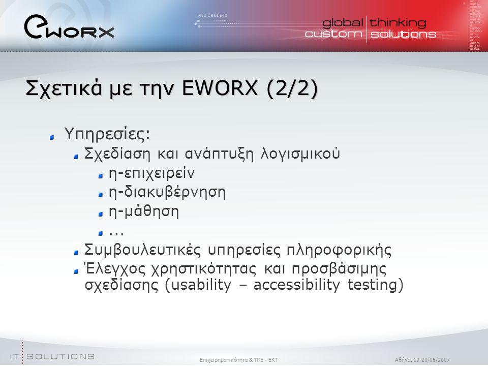Επιχειρηματικότητα & ΤΠΕ - ΕΚΤ Aθήνα, 19-20/06/2007 Σχετικά με την EWORX (2/2)  Υπηρεσίες: Σχεδίαση και ανάπτυξη λογισμικού η-επιχειρείν η-διακυβέρνηση η-μάθηση...