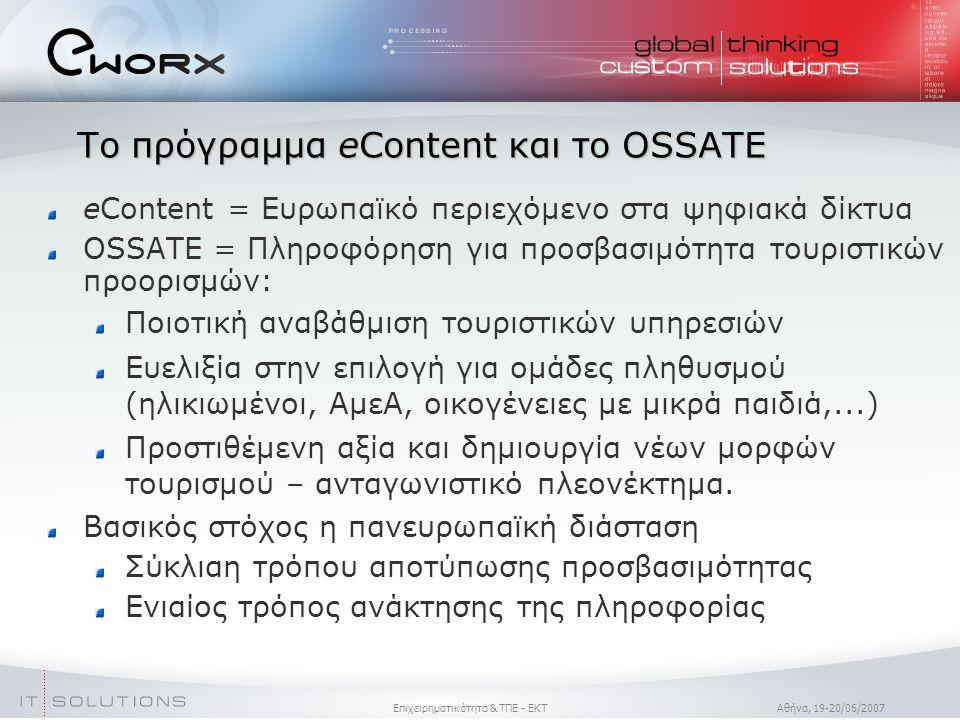 Επιχειρηματικότητα & ΤΠΕ - ΕΚΤ Aθήνα, 19-20/06/2007 eContent = Ευρωπαϊκό περιεχόμενο στα ψηφιακά δίκτυα OSSATE = Πληροφόρηση για προσβασιμότητα τουριστικών προορισμών: Ποιοτική αναβάθμιση τουριστικών υπηρεσιών Ευελιξία στην επιλογή για ομάδες πληθυσμού (ηλικιωμένοι, ΑμεΑ, οικογένειες με μικρά παιδιά,...)  Προστιθέμενη αξία και δημιουργία νέων μορφών τουρισμού – ανταγωνιστικό πλεονέκτημα.