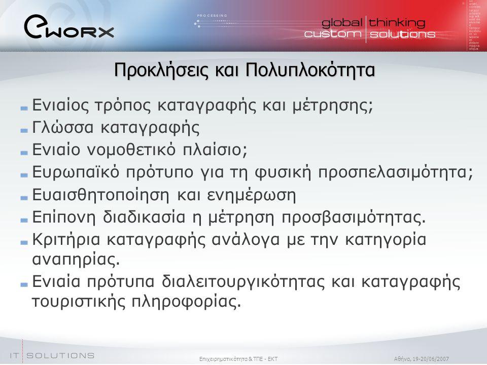 Επιχειρηματικότητα & ΤΠΕ - ΕΚΤ Aθήνα, 19-20/06/2007 Προκλήσεις και Πολυπλοκότητα Ενιαίος τρόπος καταγραφής και μέτρησης; Γλώσσα καταγραφής Ενιαίο νομοθετικό πλαίσιο; Ευρωπαϊκό πρότυπο για τη φυσική προσπελασιμότητα; Ευαισθητοποίηση και ενημέρωση Επίπονη διαδικασία η μέτρηση προσβασιμότητας.