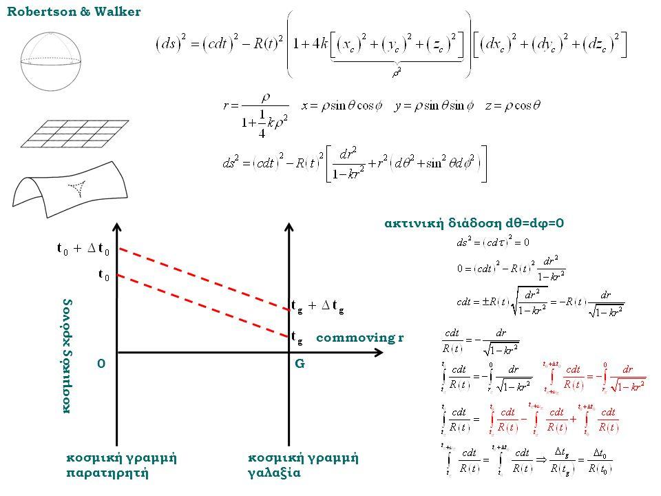 0G commoving r κοσμική γραμμή παρατηρητή κοσμική γραμμή γαλαξία κοσμικός χρόνος ακτινική διάδοση dθ=dφ=0