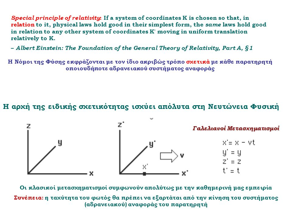 Special principle of relativity : If a system of coordinates K is chosen so that, in relation to it, physical laws hold good in their simplest form, the same laws hold good in relation to any other system of coordinates K moving in uniform translation relatively to K.
