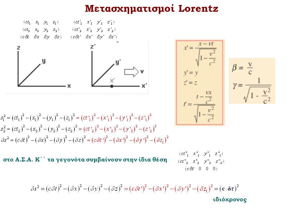 Μετασχηματισμοί Lorentz στο Α.Σ.Α. Κ΄΄ τα γεγονότα συμβαίνουν στην ίδια θέση ιδιόχρονος
