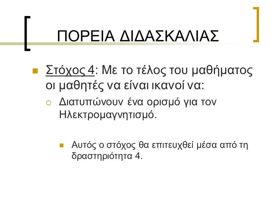 ΠΟΡΕΙΑ ΔΙΔΑΣΚΑΛΙΑΣ  Στόχος 4: Με το τέλος του μαθήματος οι μαθητές να είναι ικανοί να:  Διατυπώνουν ένα ορισμό για τον Ηλεκτρομαγνητισμό.  Αυτός ο